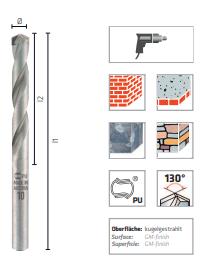 Broca de metal duro para piedra, DIN ISO 5468