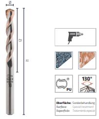 Broca de metal duro para granito, DIN ISO 5468